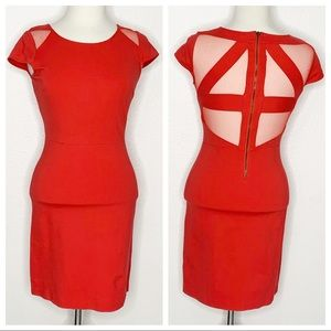 💋 BB Dakota Red Cap Sleeve Bodycon Mini Dress Sm